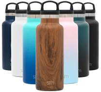 Simple Modern 17oz Ascent Water Bottle - Stainless Steel Flask w/Handle Lid - Brown Hydro Double Wall Tumbler Vacuum Insulated White Small Reusable Metal Leakproof Pattern: Wood Grain