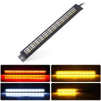 MICTUNING Universal Triple 108 LED Motorcycle Tail Light Strip Waterproof Aluminum Plate integrated Light Strip Bar - Amber Sequential Turn Signal/Flash Strobe, Red Brake/Running, White Reverse Light