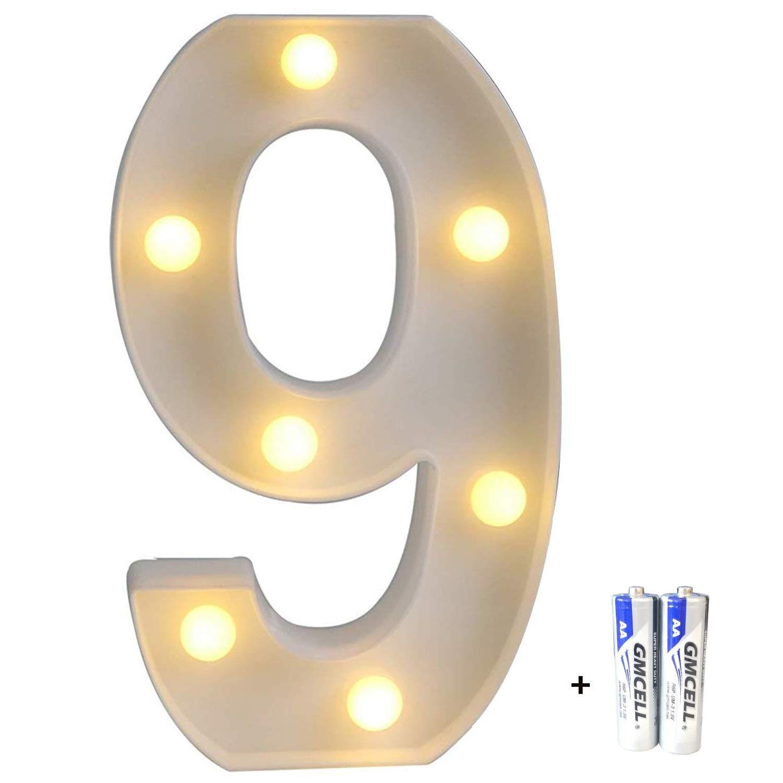 bemece LED Alphabet Letter Lights, Marquee Decorative Warm Plastic Light up Sign (Battery Included)- Number 9