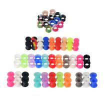 Qmcandy 12/16/38 Pairs Silicone Ear Plugs Tunnels with 3 Styles Saddle Hard and Soft Rubber Pure Colors and Camouflage Colors Ear Piercing Jewelry 2g to 1 in