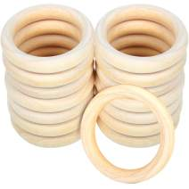 15Pcs Natural Wood Rings, HNYYZL Unfinished Solid Wood Ring Smooth Wooden Ring Without Paint, for Ring Pendant, DIY Connectors, and Jewelry Making, Natural, 2.8 Inch in Diameter