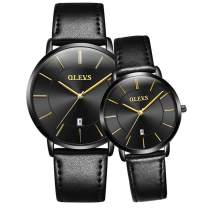 Men's and Women's Couple Pair Watches-OLEVS His and Hers Set Ultra Thin Casual Classic Date Leather Waterproof Matching Wrist Watch Romantic Valentine's Day Love Gift Set…