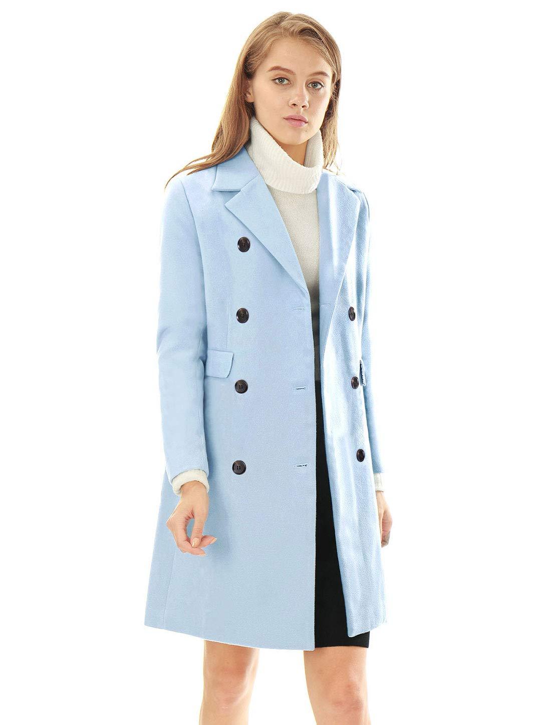 Allegra K Womens Notched Lapel One Button Winter Long Coat