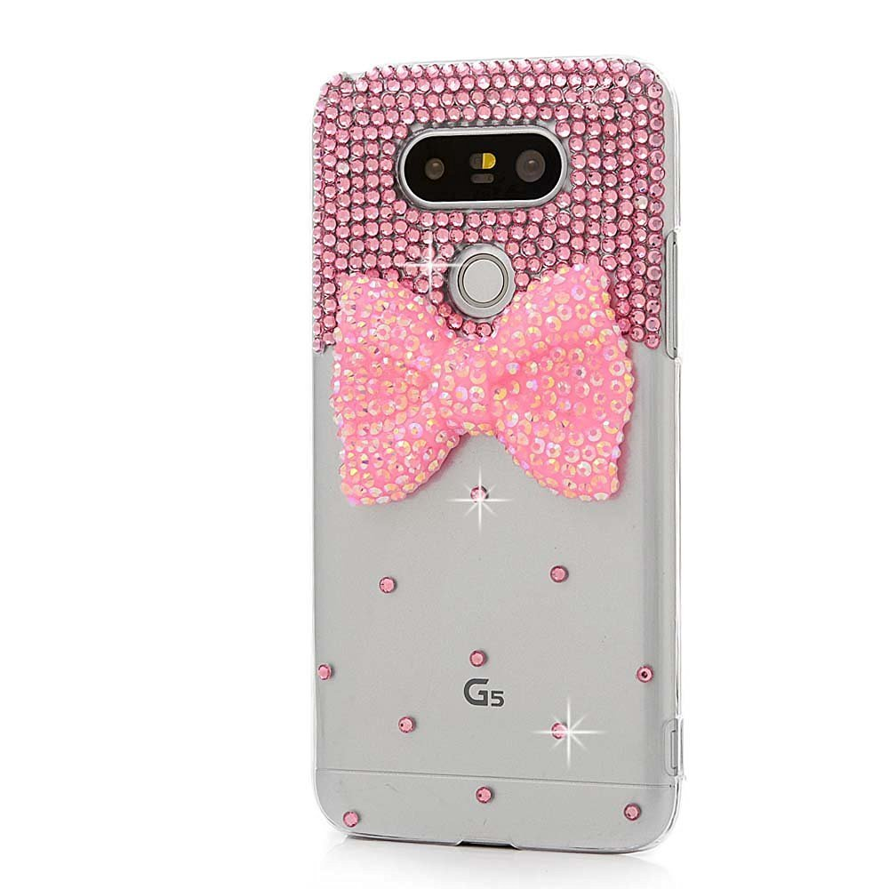 STENES LG V20 Case - [Luxurious Series] 3D Handmade Shiny Crystal Bling Case with Retro Bowknot Anti Dust Plug - Bowknot/Pink
