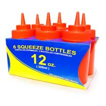 New Star Foodservice 26023 Squeeze Bottles, Plastic, Wide Mouth, 12 oz, Red, Pack of 6