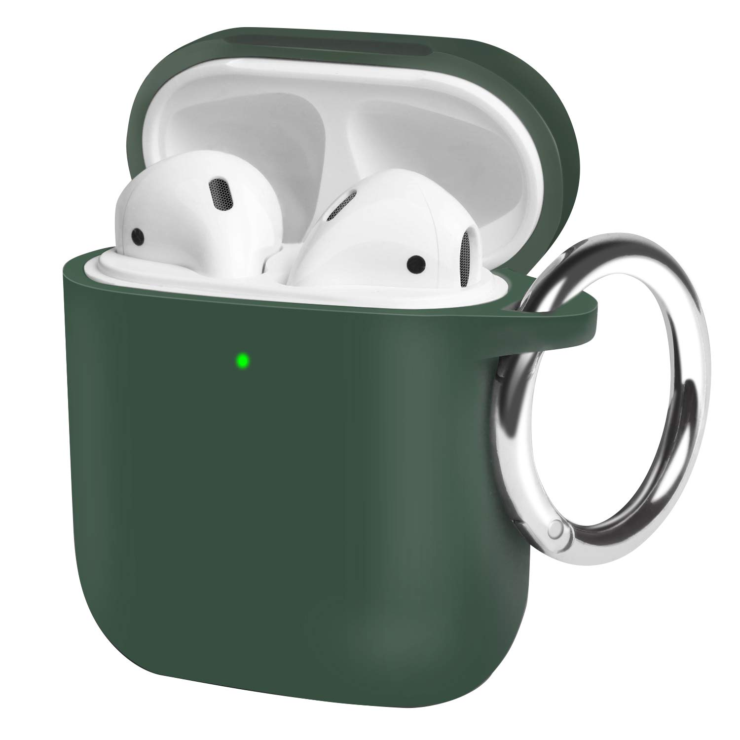 OTOFLY AirPods Case, with Detachable Round Carabiner Full Body Protection Silicone Cover Compatible with AirPods 2&1 [Front LED Visible/Supports Wireless Charging] (Forest Green)