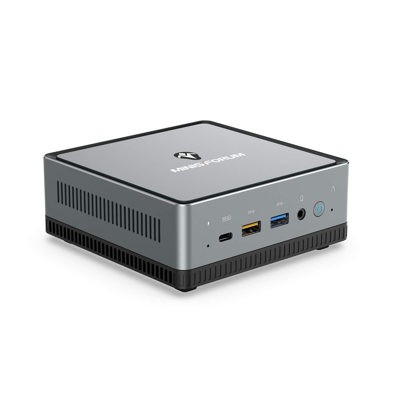 UM700 Mini PC AMD Ryzen 7 3750H 4C/8T Windows 10 Pro Desktop Computer, DDR4 16G RAM+256G SSD, HDMI/DP/USB-C 4K@60Hz Output, 2X RJ45 Port, 4X USB3.0 Port, WIFI6 AX200 BT5.1, Radeon Vega 10 Graphics