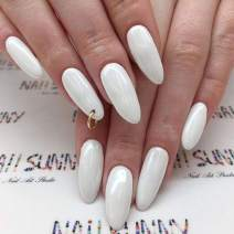 Victray Glossy False Nails Full Cover White Fake Nail Stiletto Acrylic Press on Nails for Women and Girls (24PCS)