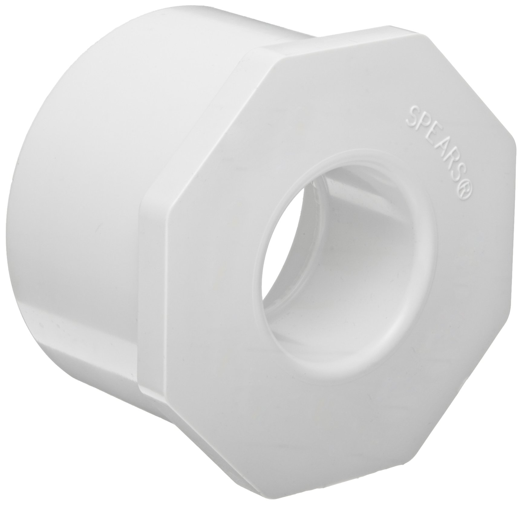 """Spears 437-211 PVC Pipe Fitting, Bushing, Schedule 40, White, 1-1/2"""" Spigot x 1"""" Socket (Pack of 10)"""