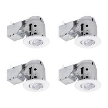 """Globe Electric 90718 3"""" LED IC Rated Swivel Round Trim Recessed Lighting Kit 4-Pack, White Finish, Easy Install Push-N-Click Clips, Bulbs Included, 3.25"""" Hole Size"""