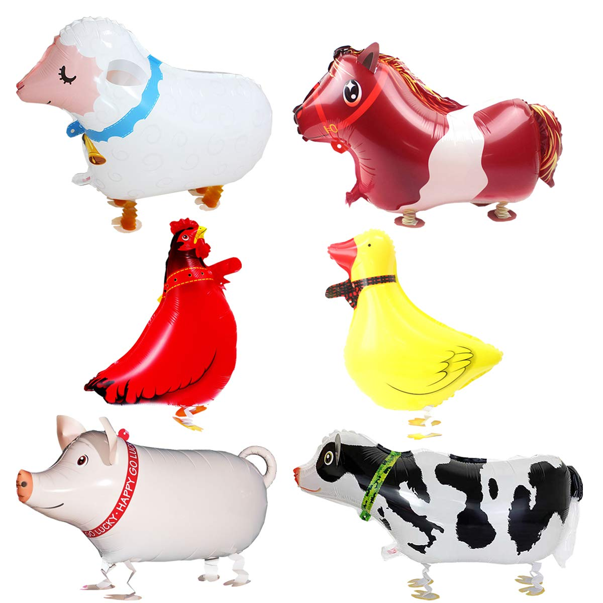 Animal Theme Birthday Party Decorations | 6 Pieces Walking Animal Balloons Farm Animal Balloon Birthday Party BBQ Party Decoration Kit (Pig, Cow, Chicken, Duck, Sheep, Horse)