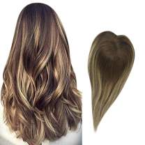 Full Shine Hair Topper 8 Inch Real Human Hair Piece Hidden Crown Extensions Hairpieces For Thinning Hair Color 4 Fading To 27 Honey and 4 Medium Brown Hair 13x13 CM Toupee Straight Hair