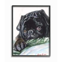 Stupell Industries Pug Dog Pet Animal Watercolor Painting Black Framed Wall Art, 11 x 14, Multi-Color