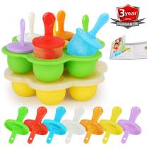 Popsicle Molds Set, 14 Cavities Baby Food Freezer Trays Reusable Ice Cream Mold BPA-free Silicone Egg Bites Molds for Instant Pot Accessories with Lid, Ice Pop Makers with 7pc Plastic Sticks (Pack 2)