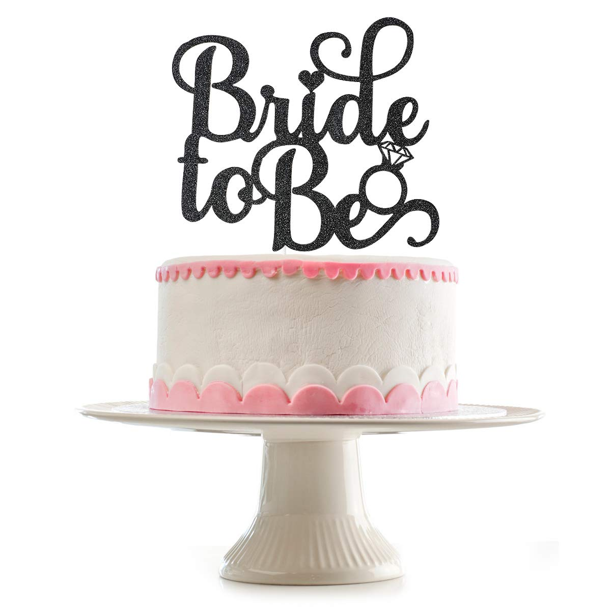 Black Glittery Bride To Be Cake Topper for Wedding Bachelorette Party Decoration Supplies