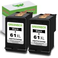 GREENBOX Remanufactured 61 Black Ink Cartridge Replacement for HP 61XL 61 XL for Hp Envy 4500 5530 5534 5535 Deskjet 1000 1056 1010 1510 1512 2540 3050 3050A Officejet 2620 4630 (2 Black)