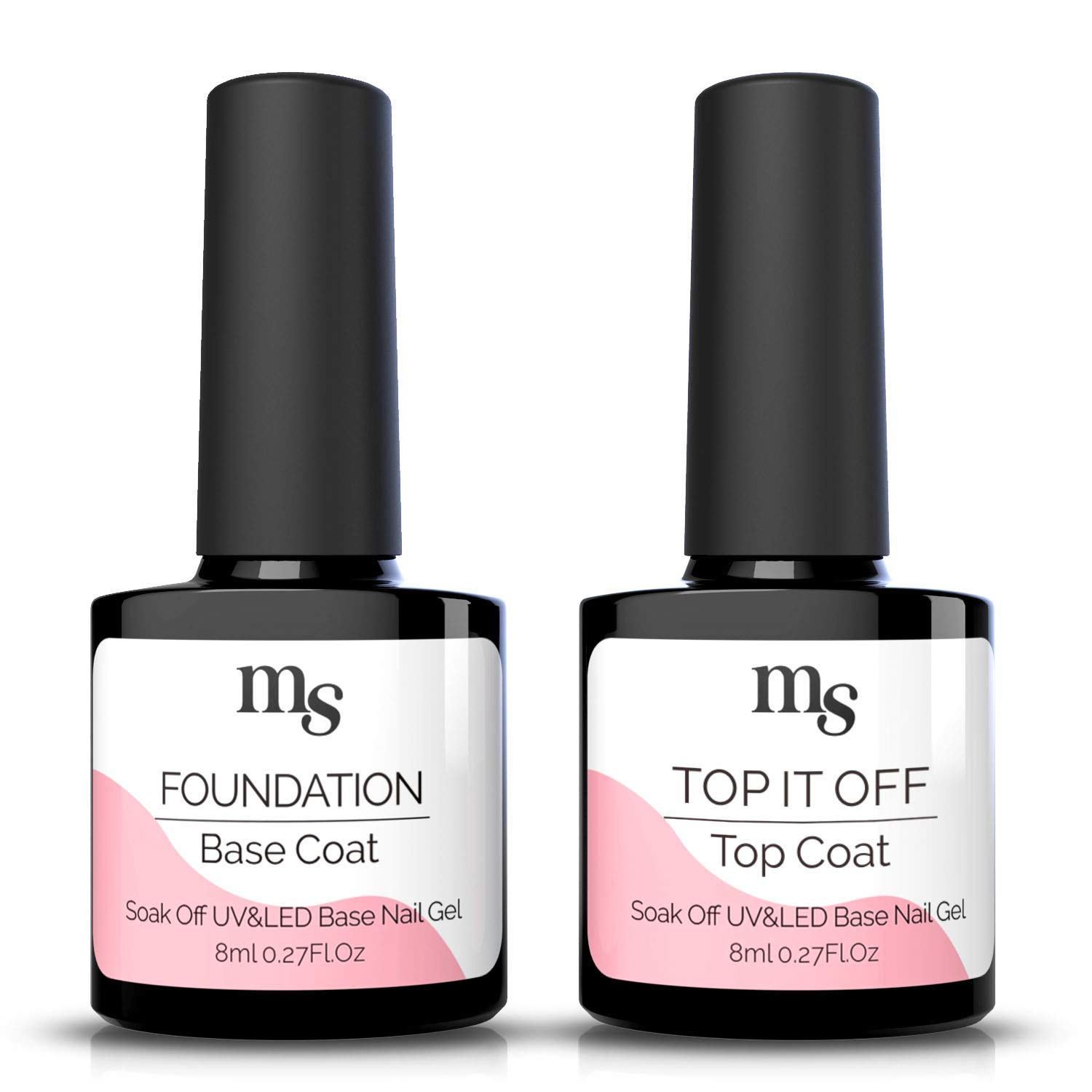 MelodySusie Gel Base and No Wipe Top Coat Set - Long Lasting, Shiny Finish, Soak Off UV LED Gel Nail Lacquer for Color Gel, Polygel, Dip Powder, Manicure, Pedicure, 2 x 8ml