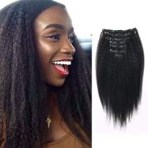 Lovrio Kinkys Straight Hair Clip Ins Brazilian Virgin Hair Extensions Big Thick Double Weft Real Remy Hair for Black Women 7 Pieces 120g 12 Inch