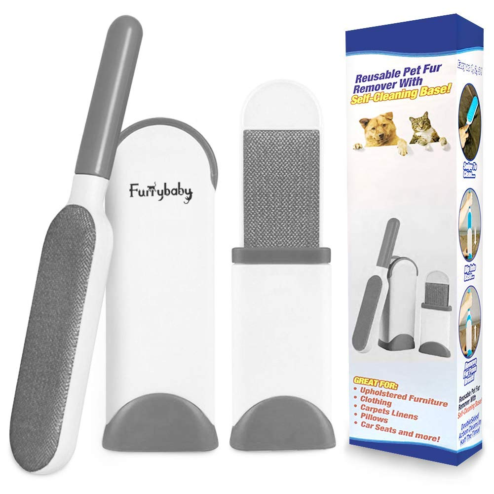 furrybaby Pet Hair Remover Brush with Self Cleaning Base, Double-Sided Lint Brush Removes Dog Cat Fur from Clothing, Furniture, Car Set-Travel Size Included