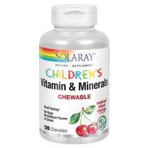Solaray Childrens Vitamins & Minerals | Complete Multivitamin for Kids | Great Black Cherry Flavor (120 Chews, 60 Serv)