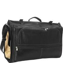 Piel Leather Tri-fold Garment Bag, Black