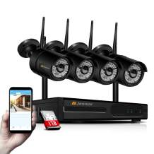 【Newest WiFi Verison & Expandable】Home Security Camera System Wireless, Jennov 8 Channel NVR 4 1080P Outdoor Camera Security System Wireless WiFi IP Bullet Cameras Video Kit With Night Vision 1TB Hard
