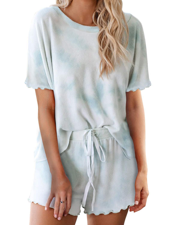 luvamia Women's Short Pajama Sets Tie Dye Loungewear PJ Set Nightwear Sleepwear