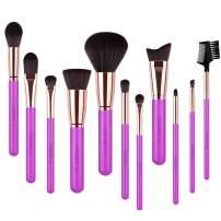 Docolor Makeup Brush Set 11Pcs Professional Makeup Brushes for Face Foundation Contour Eye Shadow Blending Brushes Kit - Rose Red