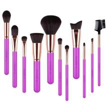 Docolor Makeup Brush Set 11Pcs Professional Makeup Brushes for Face Foundation Contour Eye Shadow Blending Brushes Kit - Rose Red