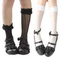 Women Summer Lace Wedding Party Dress Princess Crew Socks 2 Pack White Black