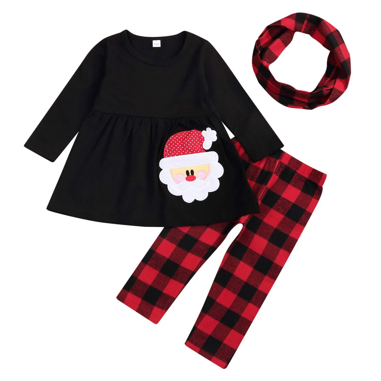 3Pcs Kids Baby Girls Christmas Clothes Snowman T-Shirt Top Dress+Snowflake/PlaidPants+Headband Outfit Set Winter