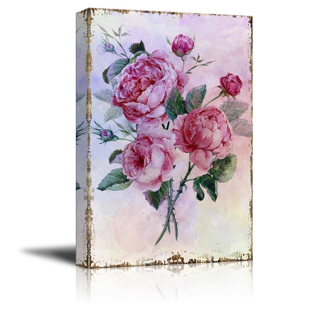 wall26 - Bouquet of Pink Watercolor Roses on a Delicate Watercolor Background - Nature - Canvas Art Home Decor - 12x18 inches