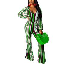 kaimimei Women's Striped V Neck Jumpsuit Sexy One Piece Outfits Long Sleeve Bell Buttom Party Rompers with Belt