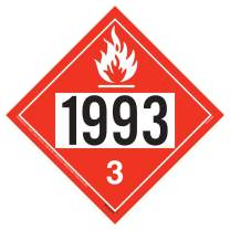 "1993 Placard, Class 3 Flammable Liquid 10-pk. - 10.75"" x 10.75"" Removable Self Adhesive Vinyl for Temporary Applications - J. J. Keller & Associates - Complies with DOT Hazmat Placard Requirements"