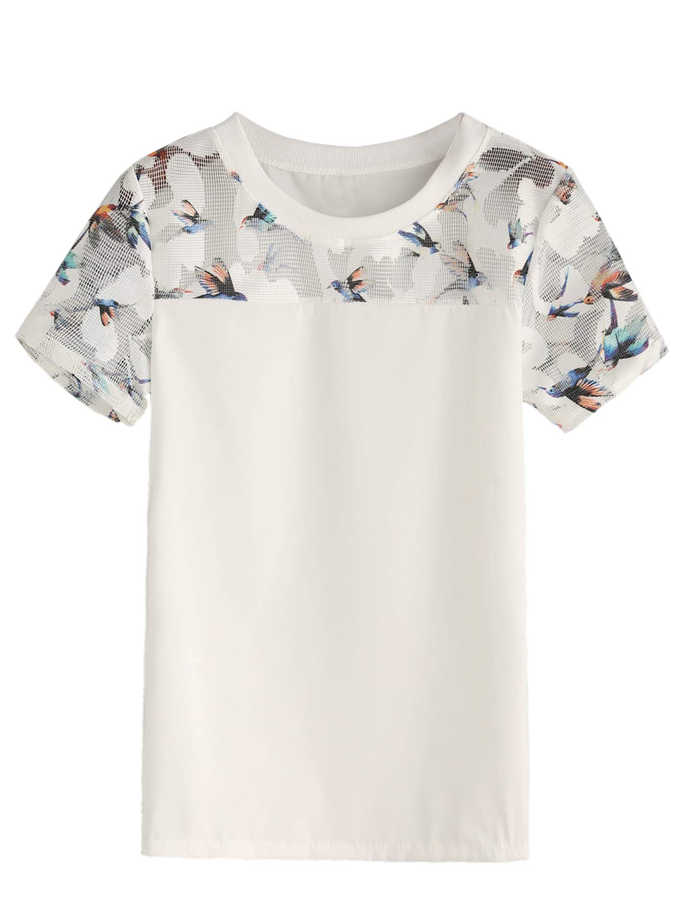SheIn Women's Summer Short Sleeve Bird Print Mesh Blouse Shirt Top White XS