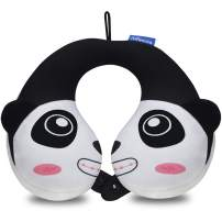 INFANZIA Travel Neck Pillow for Kids Toddlers - Cute Head Neck Chin Support Pillow for Comfortable Sleep on Car & Airplane, Child Size, (Panda)