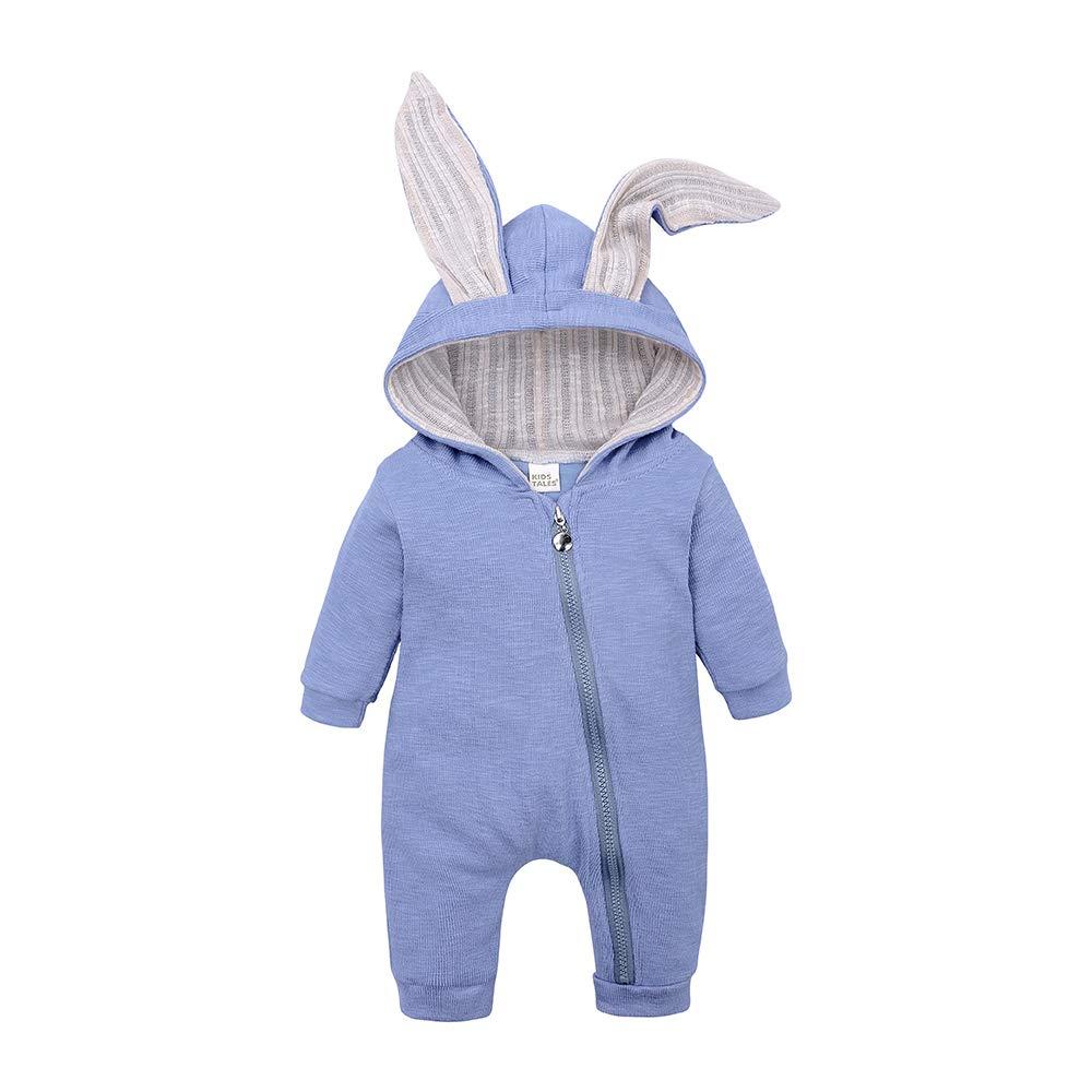 Kids Tales Infant Baby Hooded Bodysuit Cute Bunny Long Sleeve Zipper Romper
