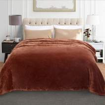 "JML Fleece Blanket, Plush Blankets Queen Size(90""x90"") - Anti-Static, Super Soft Warm, Lightweight Cozy All Season Use Flannel Bed Blanket, Brown"