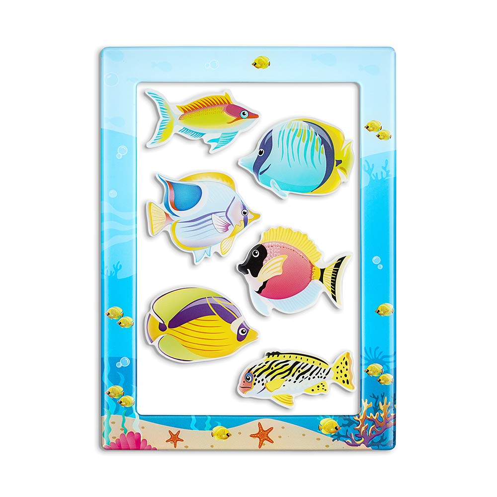 Fish Magnets for Fridge,6pcs Refrigerator Magnets and 4 x 6 Inches Magnetic Picture Frame Cute Gifts for Kids Toddlers and Adults