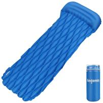 Angemay Ultralight Sleeping Pad - Ultra-Compact Camping Air Mattress for Backpacking, Travelinga and Hiking - Leakproof Portable Outdoor Sleeping Mat with Pillow, for Travel Beach Camping - Blue