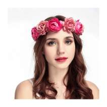 Campsis Flower Headband Rose Garland Hair Wreath Flowers Crown Headpiece for Women and Girls (Water red)