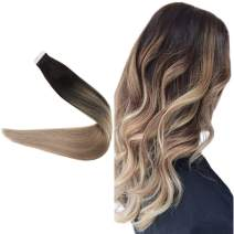 Easyouth 16inch Tape in Human Hair Extensions Balayage Color 1B Off Back Fading to Ash Blond 18 Silky Straight Hair 40 Gram per Pack Seamless Skin Weft Glue In Hair Extensions Remy Hair
