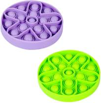 2Pcs Push Pop Bubble Fidget Sensory Toy,Soft Silicone Fidget Toys For Adults Special Needs Anxiety Stress Reliever Toy for Kids,Squeeze Sensory Toy for Home Office Travel (Green + Purple)