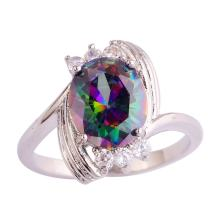 Veunora 925 Sterling Silver Created 5x5mm Rainbow Topaz and Amethyst Filled Twisted Ring Band for Women