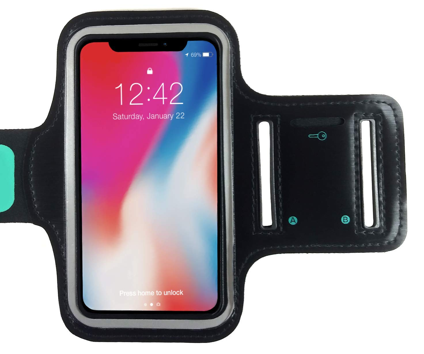 TRONWIRE Water Resistant Cell Phone Armband Case with Adjustable Elastic Band & Key Holder for Running, Walking, Hiking for iPhone 8, 7, 6, 6S, SE, 5, 5C, 5S