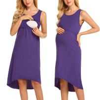 Ekouaer Womens Long/Sleeveless Delivery/Labor/Maternity/Nursing Nightgown Pregnancy Gown for Hospital Breastfeeding Dress
