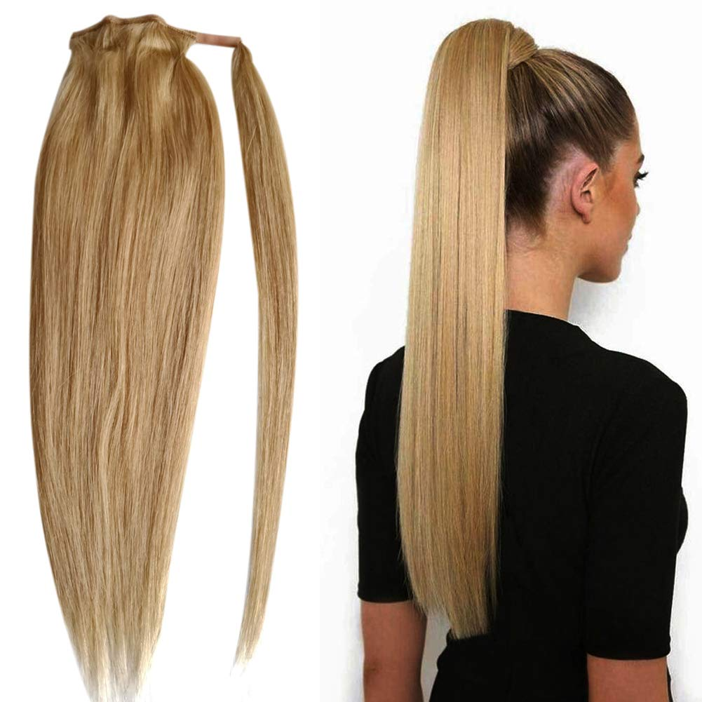 """Ponytail Extensions Real Human Hair Wrap around Ponytail for Natural Hair Wrap Around Ponytail Hair Piece Ponytail Invisible Silk Straight Remy Hair for Girls for Women(18"""",#27 Strawberry Blonde)100g"""