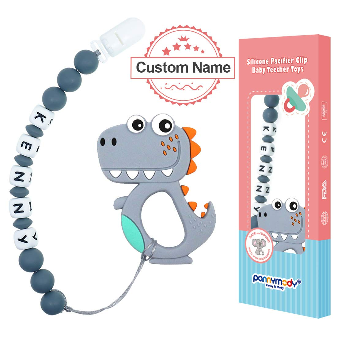 Panny & Mody Personalized Pacifier Clip with Name and Dinosaur Baby Teething Toys, Custom Made Silicone Pacifier Clip with Bite Beads for Day Care Baby Shower Gift(Grey)