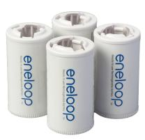 Panasonic BQ-BS2E4SA eneloop C Size Battery Adapters for Use With eneloop Ni-MH Rechargeable AA Battery Cells, 4 Pack