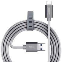 ESR USB C Cable, Type C to USB 3.0 Cable (6.6 ft), Braided Nylon Fast Charger Cable for iPad Pro 2020/2018, Samsung S20/S20+/S20 Ultra/S10/Note10, MacBook & Other USB Type-C Devices, Grey